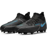 Nike Phantom GT 2 Academy DF Gras / Kunstgras Voetbalschoenen (MG) Kids Zwart Donkergrijs