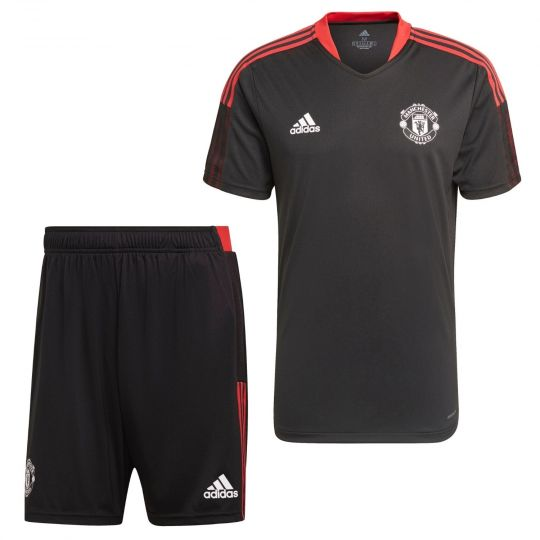 adidas Manchester United Trainingsset 2021-2022 Zwart Rood