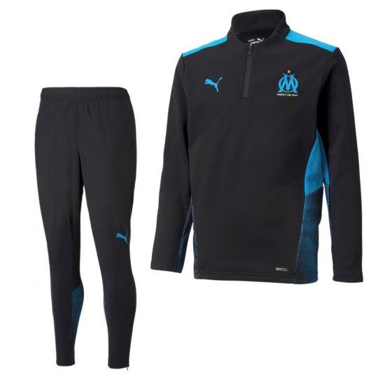 PUMA Olympique Marseille 1/4 Zip Trainingspak 2021-2022 Zwart Blauw