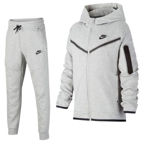 Nike Tech Fleece Trainingspak Full-Zip Kids Grijs