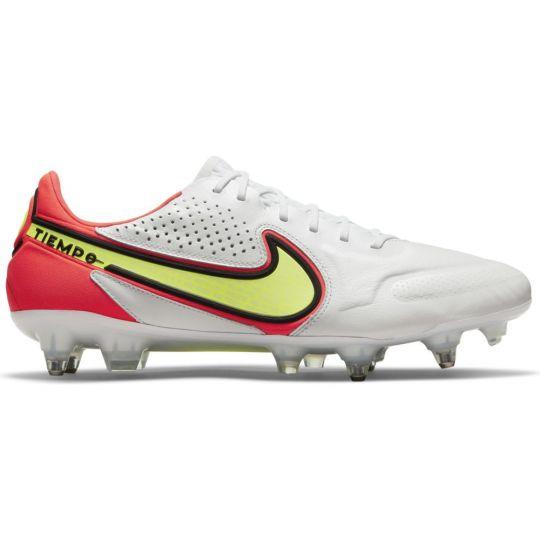 Nike Tiempo Legend 9 Elite Ijzeren-Nop Voetbalschoenen (SG) Anti-Clog Wit Geel Rood