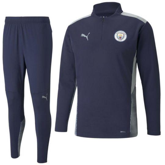 PUMA Manchester City 1/4 Zip Trainingspak 2021-2022 Donkerblauw