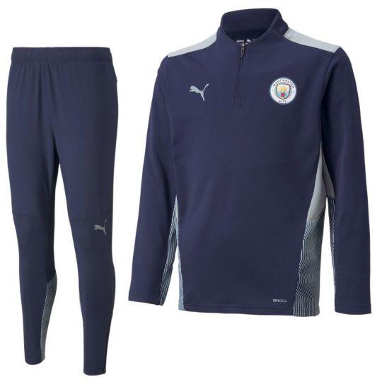 PUMA Manchester City 1/4 Zip Trainingspak 2021-2022 Kids Donkerblauw Grijs