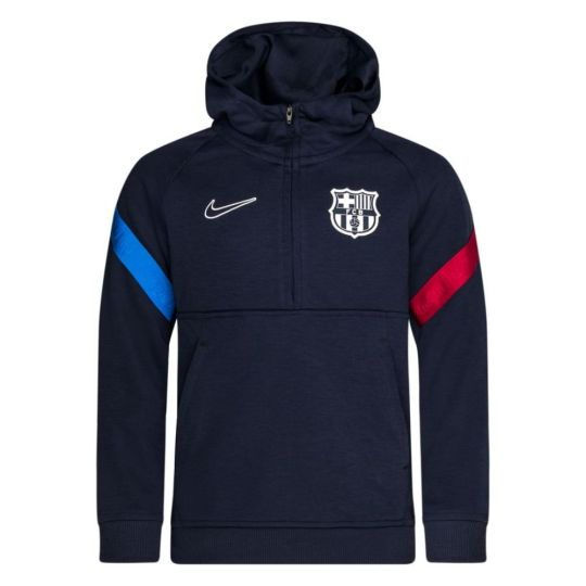 Nike FC Barcelona Fleece Hoodie Half-Zip 2021-2022 Kids Donkerblauw Rood Grijs