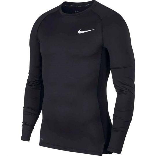 Nike Pro Compressieshirt Lange Mouwen Zwart Wit