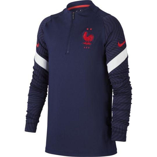 Nike Frankrijk Strike Trainingstrui 2020-2022 Kids Donkerblauw