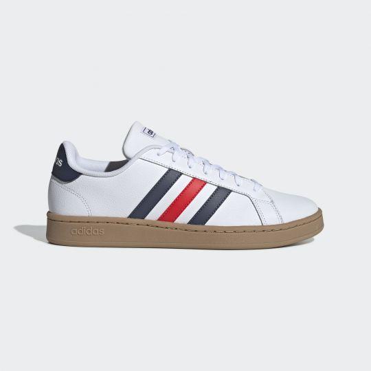 adidas Grand Court Schoenen Wit Blauw Rood