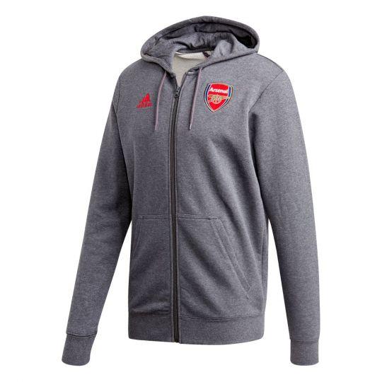 adidas Arsenal 3S Full Zip Hoodie 2020-2021 Donkergrijs