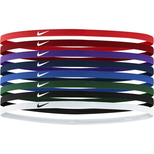 Nike Skinny Haarbandjes 8 pack Rood Paars Blauw Groen Zwart wit