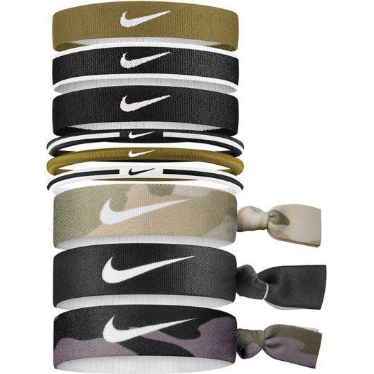 Nike Haar elastiekjes 9 Stuks Zwart Groen