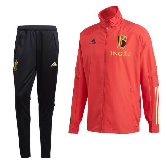 adidas Belgie Presentatie Trainingspak 2020-2021 Rood Zwart