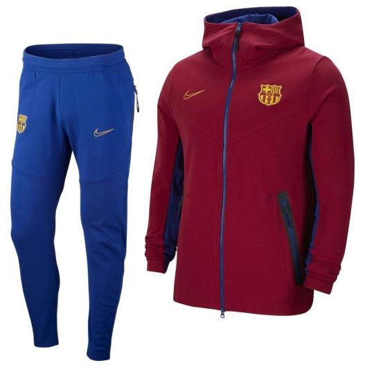 Nike FC Barcelona Tech Fleece Trainingspak 2020-2021 Kids Rood Blauw