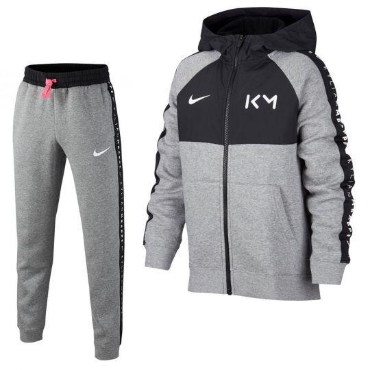 Nike Kylian Mbappe Fleece Trainingspak Kids Grijs Zwart Roze