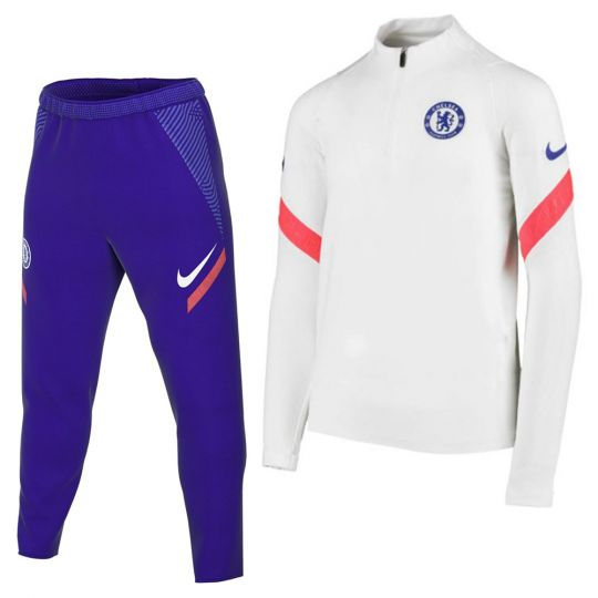 Nike Chelsea Dry Strike Drill Trainingspak 2020-2021 Kids Wit Blauw