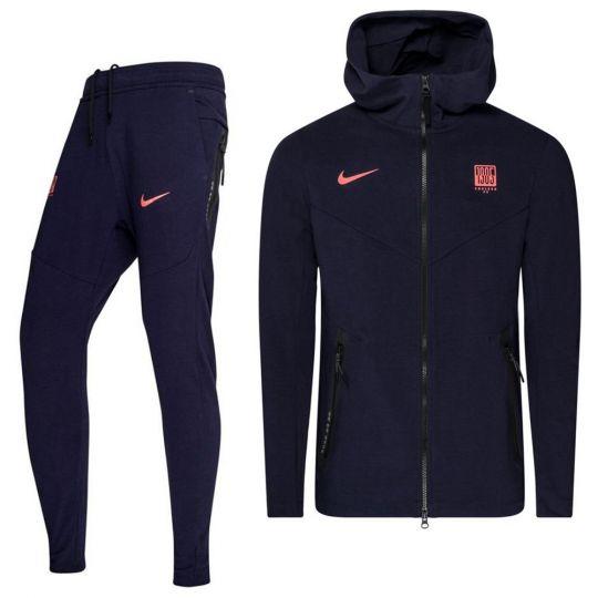 Nike Chelsea Tech Fleece Pack Trainingspak CL 2020-2021 Donkerblauw