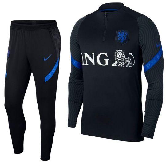 Nike Nederland Dry Strike Trainingspak 2020-2022 Zwart Blauw