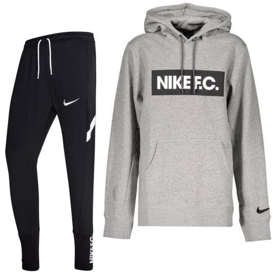 Nike F.C. Essential Fleece Trainingspak Grijs Zwart