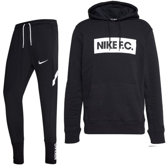 Nike F.C. Essential Fleece Trainingspak Zwart Wit