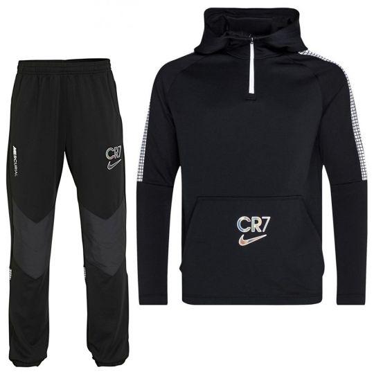 Nike CR7 Dry Hoodie Trainingspak Kids Zwart Wit