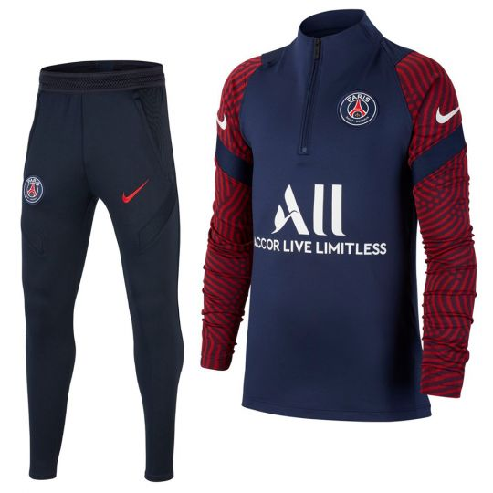 Nike Paris Saint Germain Strike Drill Trainingspak 2020-2021 Kids Donkerblauw Rood