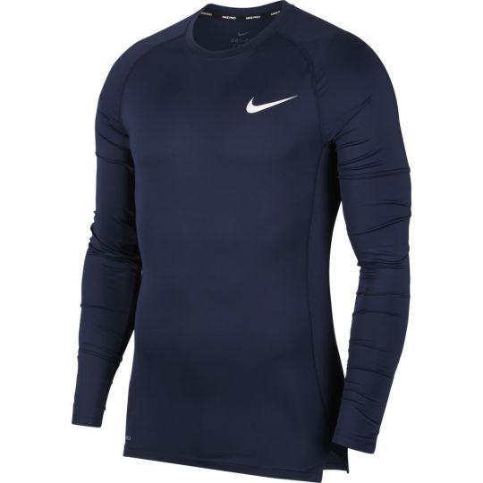 Nike Pro Ondershirt Lange Mouwen Donkerblauw Wit