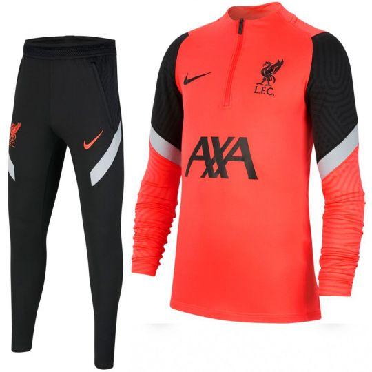 Nike Liverpool Dry Strike Trainingspak CL 2020-2021 Kids Rood Zwart