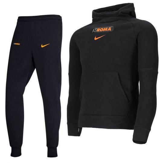 Nike AS Roma GFA Fleece Trainingspak CL 2020-2021 Kids Zwart