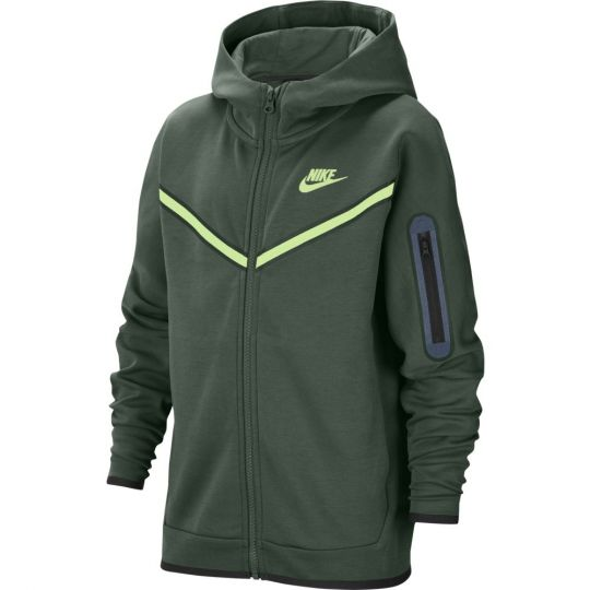 Nike Tech Fleece Hoodie Windrunner Full Zip Kids Donkergroen Lime