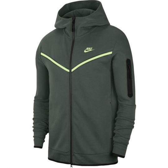Nike Tech Fleece Hoodie Windrunner Full Zip Donkergroen Lime