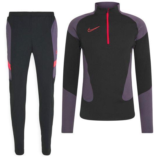 Nike Dri-FIT Academy Drill Trainingspak Zwart Paars Felrood