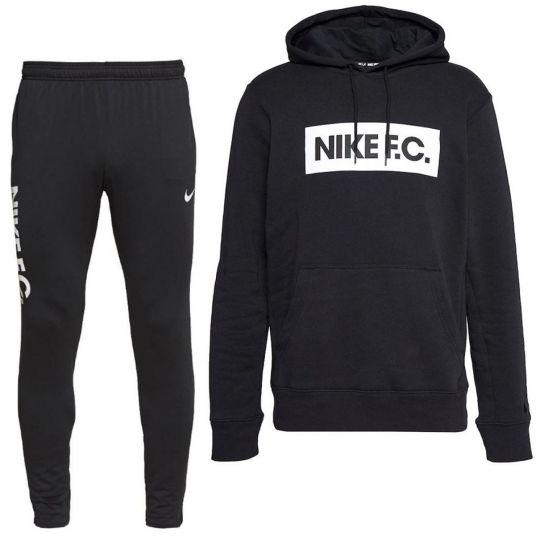 Nike F.C. Essential Hoodie Fleece Trainingspak Zwart Wit
