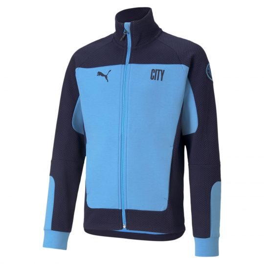 PUMA Manchester City Evostripe Trainingsjack Kids 2021 Lichtblauw Donkerblauw