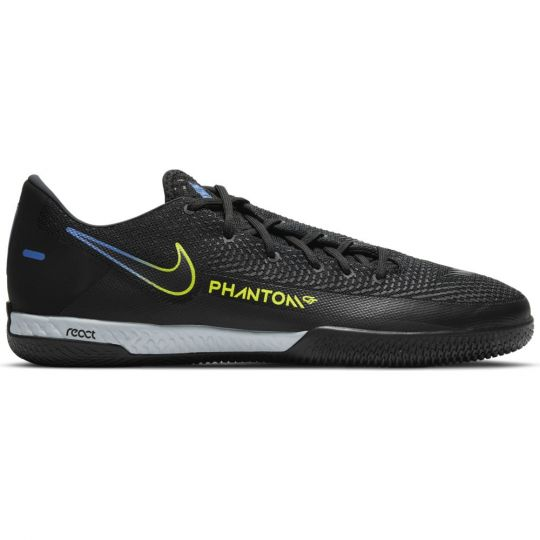 Nike Phantom GT React Pro Zaalvoetbalschoenen (IC) Zwart Geel Blauw