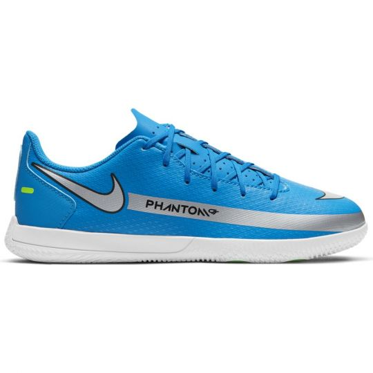 Nike Phantom GT Club Zaalvoetbalschoenen (IC) Kids Blauw Zilver Groen