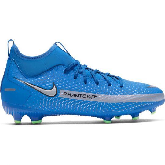 Nike Phantom GT Academy DF Gras / Kunstgras Voetbalschoenen (MG) Kids Blauw Zilver Groen