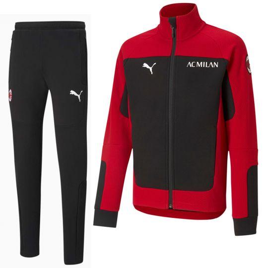 PUMA AC Milan evoSTRIPE Full Zip Trainingspak 2021 Kids Rood Zwart