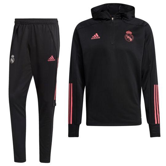 adidas Real Madrid Hoodie Trainingspak 2021 Zwart