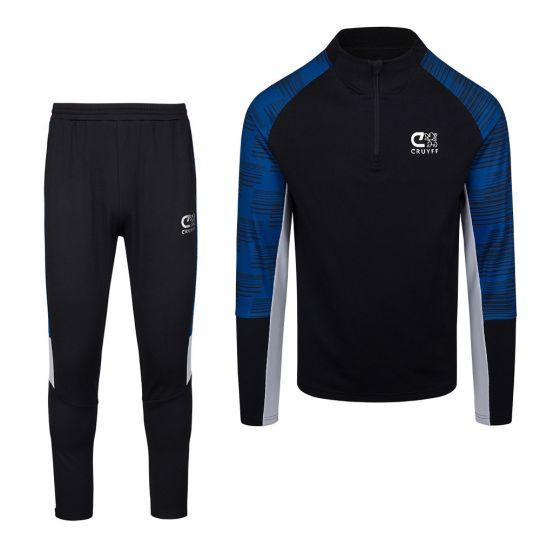 CRUYFF Rosario Halfzip Trainingspak Zwart Blauw