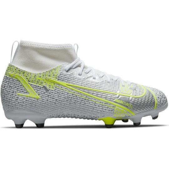 Nike Mercurial Superfly 8 Academy Gras / Kunstgras Voetbalschoenen (MG) Kids Wit Zwart Zilver Geel