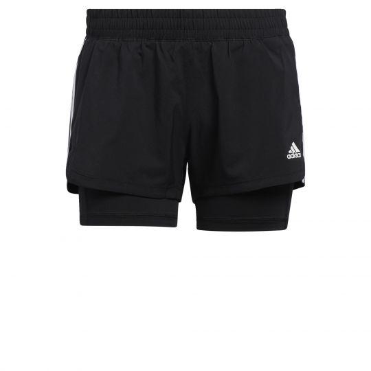 adidas Pacer 3-Stripes Geweven Twee-in-Een Short Dames Zwart