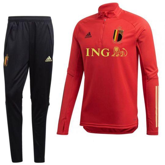 adidas België Top Trainingspak 2020-2022 Rood Zwart