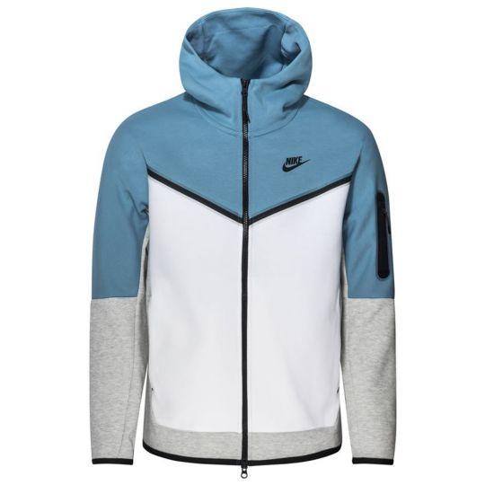 Nike Tech Fleece Hoodie Full Zip Windrunner Blauw Wit