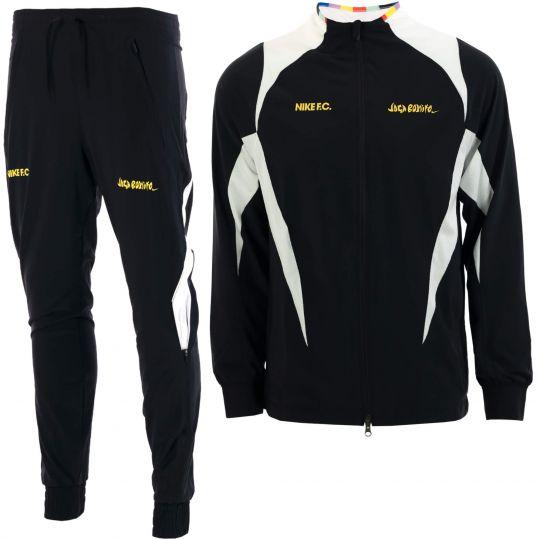 Nike F.C. Allweather Woven Trainingspak Zwart Wit Goud